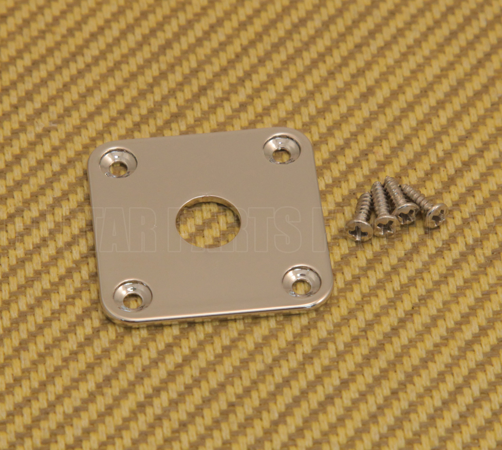 Chrome Flat Square Metal Jack Plate for Guitar//Bass FSJP-C