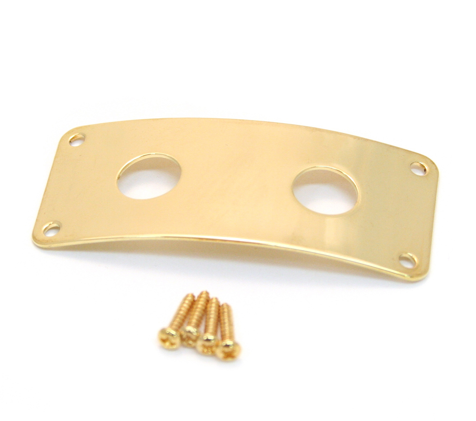 Guitar Parts GOLD JACK PLATE Curved Recessed RECTANGLE